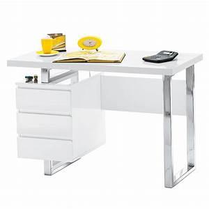 Schreibtisch Höhenverstellbar Weiß : schreibtisch computertisch arbeitstisch mit schubladen in hochglanz wei lack ebay ~ Markanthonyermac.com Haus und Dekorationen