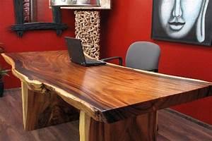 Schreibtisch Holz Natur : schreibtisch suar holz massiv tisch tischplatte natur 200x93x79 ~ Frokenaadalensverden.com Haus und Dekorationen