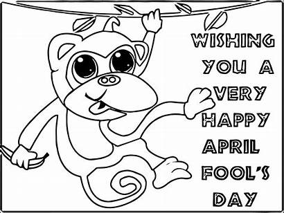 Coloring April Fools Pages Fool Monkey Happy