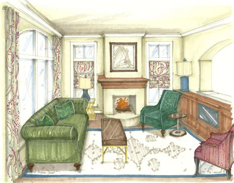 rendered perspective drawing living room forest scheme