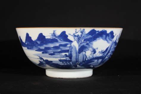 blue  white porcelain chinese bowl  landscape
