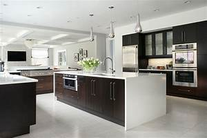 9, Inspirational, Kitchens, That, Combine, Dark, Wood, Cabinetry, And, White, Countertops
