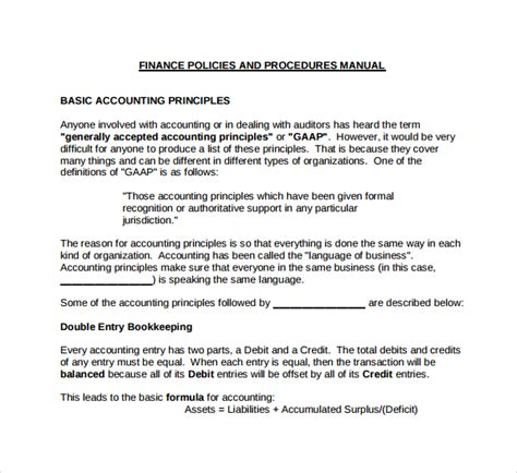 policy and procedure manual template 7 accounting manual templates to sle templates