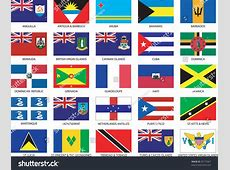 Complete Set 25 Caribbean Countries Flags Stock Vector