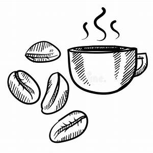Coffee Beans And Cup Sketch Stock Vector - Illustration of ...
