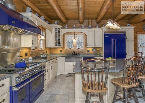Log Cabin Kitchen With Blue Appliances   Norfolk Kitchen