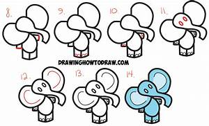 How to Draw Cartoon Elephant from the Dollar Sign - Easy ...