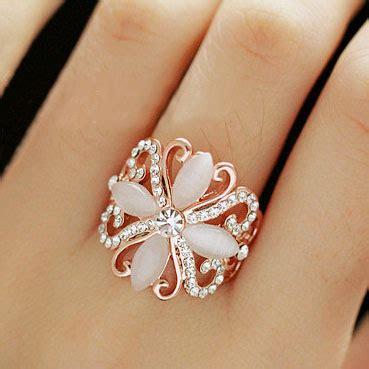 gemed flower opal  rhinestone statement ring lilyfair