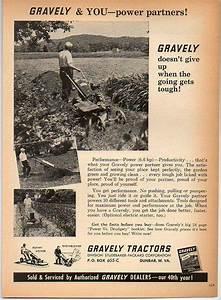 1962 Vintage Ad Gravely Garden Tractors Dunbar West
