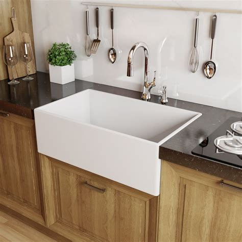 farm sinks for kitchens miseno mno33201fc white modena 33 quot single basin farmhouse 8806