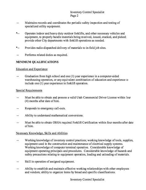 inventory specialist description resume resumes design