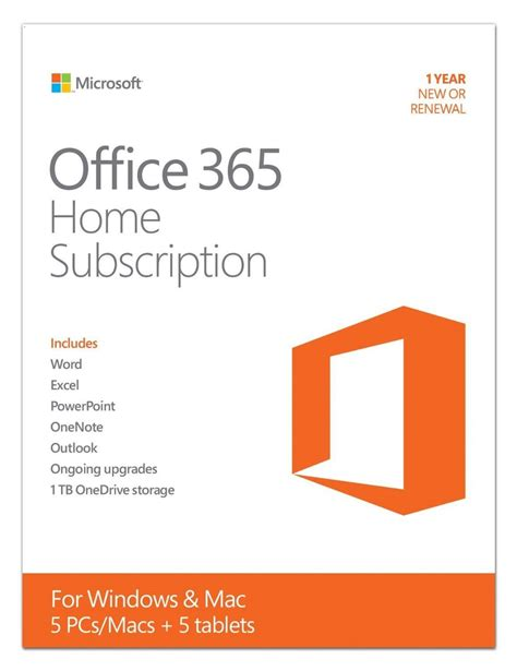 Microsoft Office 365 Home (5 Pc Or Mac License 1year