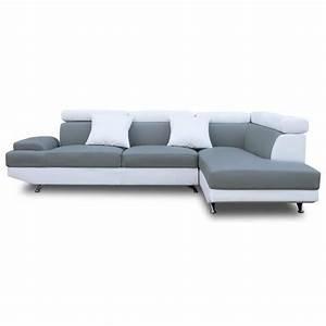 scoop xl canape angle droit 4 places simili gris blanc With scoop canapé d angle droit fixe 4 places