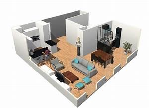 creer un bureau dans sejour salon cuisine ouverte With marvelous des plans pour maison 8 maison design piece a vivre arkko