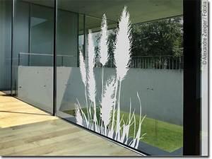 Sichtschutz Für Fensterscheiben : glasdekor pampasgras edler aufkleber f rs fenster ~ Markanthonyermac.com Haus und Dekorationen