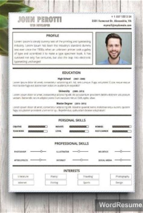 21607 resume template professional 2 resume template cv template quot perotti quot creative