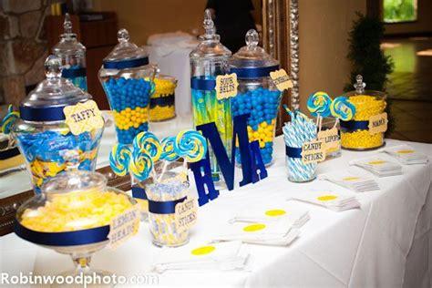 bonbonniere candy jar candy bar bleu jaune mariage jaune