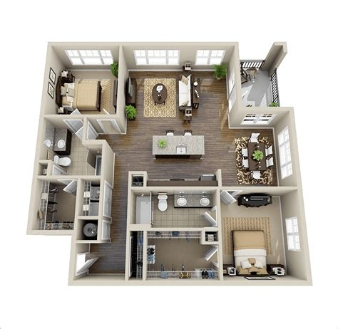 open floor plan living room 10 awesome two bedroom apartment 3d floor plans