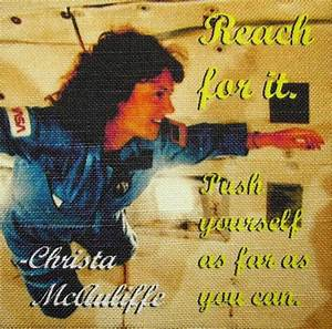 CHRISTA McAULIFFE QUOTE Printed Patch Sew On Vest Bag