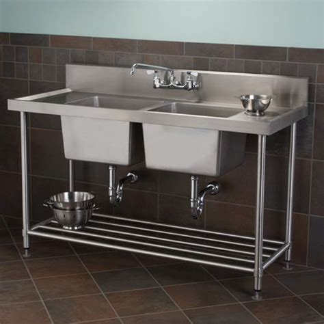 stainless shelves industrial kitchen pinterest stainless steel double well commercial console sink with