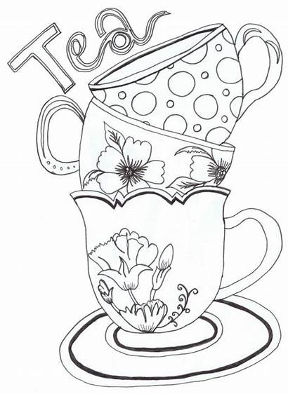 Coloring Pages Tea Cups Printable Sheets Adults