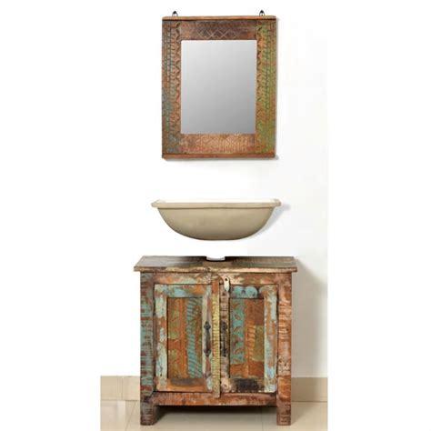 armadietto legno armadietto in legno di recupero solido per bagno con