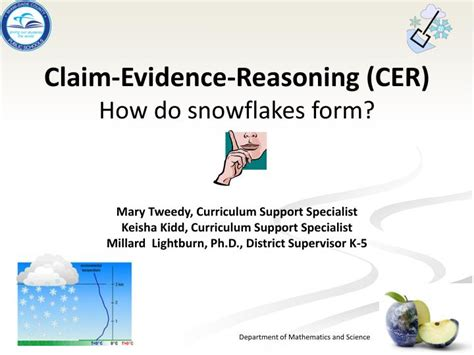 claim evidence reasoning template ppt claim evidence reasoning cer how do snowflakes form powerpoint presentation id 2022546