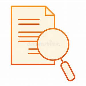 Document  U0026 Magnifying Glass Flat Icon Stock Vector