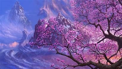 Magnolia Tree Icy Mountains