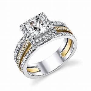 two tone engagement ring i love the 2 tone sets even With two tone wedding ring sets