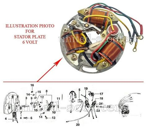 vespa vbb vba vbc vna vnb super sprint stator plate 6 volt 5 wires genuine v8092 ebay
