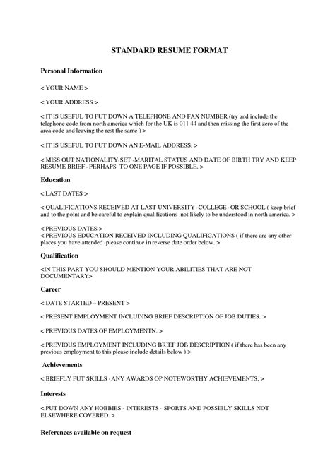 standard resume free excel templates