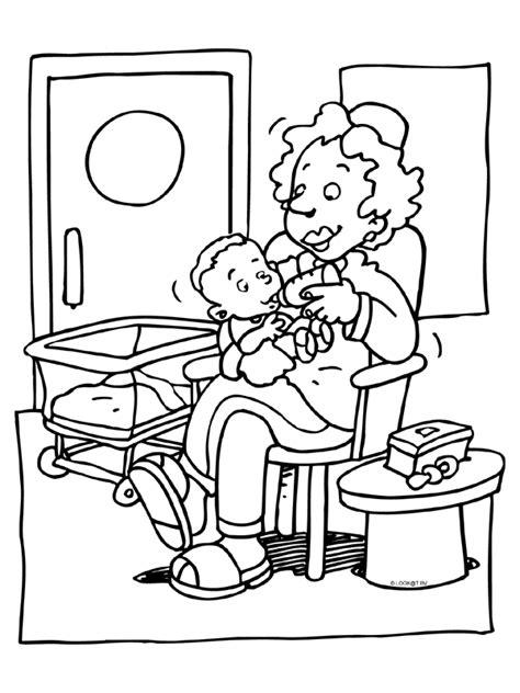 Kleurplaat Dokter Zuster by Kleurplaat Verpleegster Voeding Baby Kleurplaten Nl