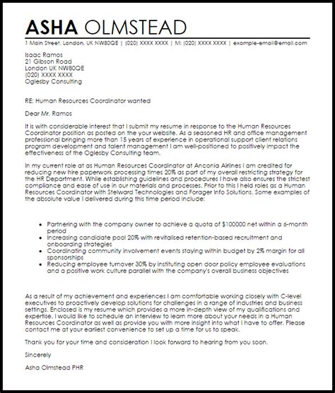 Hr Business Partner Cover Letter Sle by Human Resources Coordinator Cover Letter Sle Livecareer