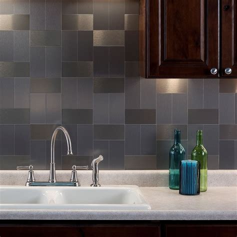 stick on backsplash aspect 3x6 inch brushed stainless grain metal tile 8