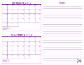 September October November Calendar 2017