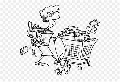 Coloring Grocery Supermarket Shopping Drawing Cart Clip