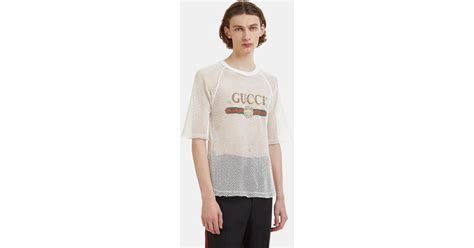 Gucci Fake Logo Mesh T-shirt In White In White For Men