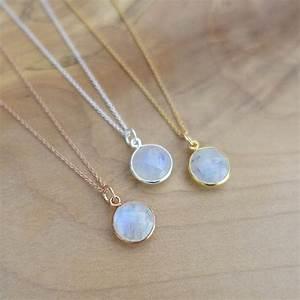 10mm Rainbow Moonstone Necklace, Rose Gold Moonstone ...