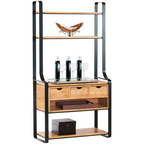 pictured    kenley  drawer bakers rack  charcoal finish  maple shelves