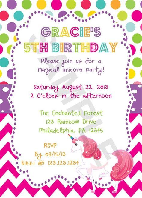 rainbow unicorn birthday invitation digital file