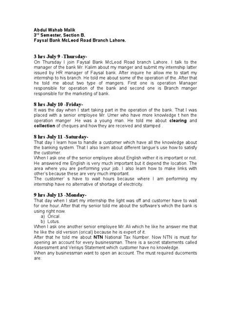 internship weekly report transaction account banks