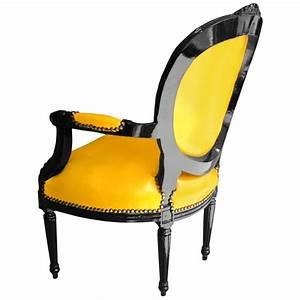 Fauteuil Cuir Et Bois : fauteuil baroque louis xvi simili cuir jaune et bois laqu noir ~ Teatrodelosmanantiales.com Idées de Décoration