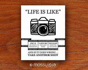 Life is camera art inspirational quotes wall by