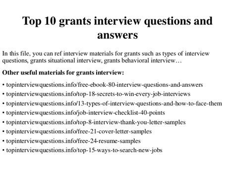 top 10 questions science can t answer template top 10 grants interview questions and answers