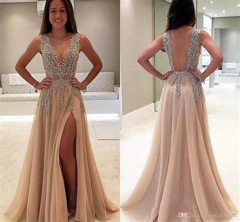 Luxury Beaded Side Split Prom Dresses 2018 Deep V Neck See ...