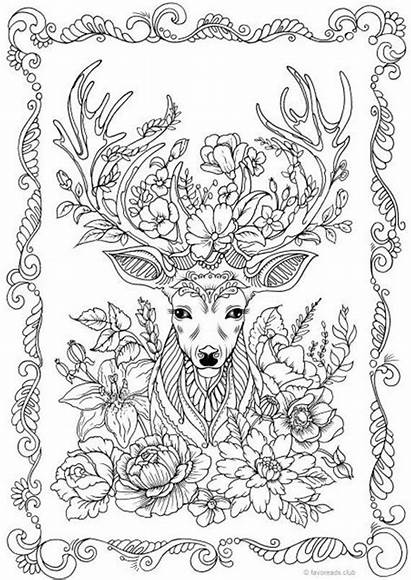 Deer Fantasy Coloring Pages Adult Printable Adults