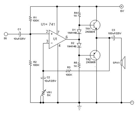 Small Audio Power Amplifier Using Op-amp And Two