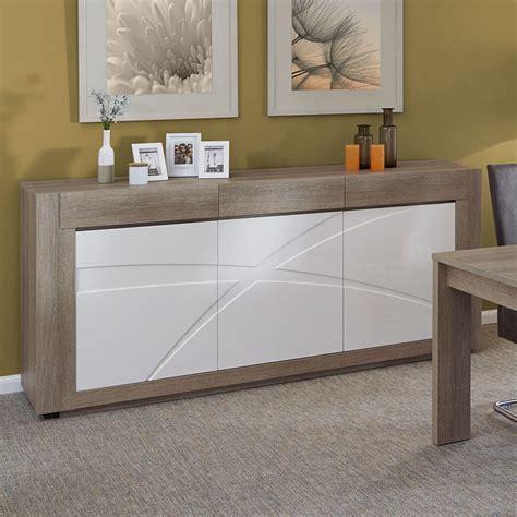 cuisine taupe laqué meuble buffet 3 portes 3 tiroirs blanc et bois de salle