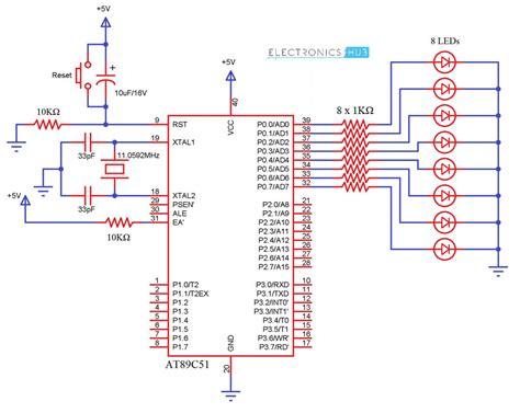 interfacing led with 8051 microcontroller circuit electronicshub